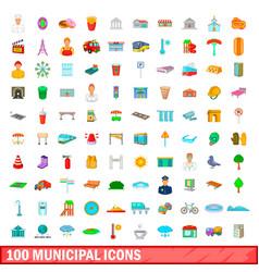 100 municipal icons set cartoon style vector