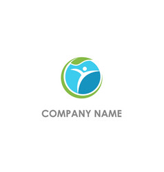 active people eco leaf logo vector image