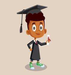 African boy graduating school holding diploma vector