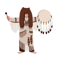 american indian wearing bearskin and ethnic vector image