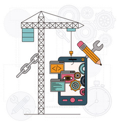 background with crane and smartphone for vector image vector image