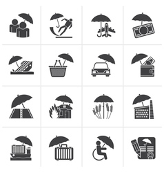 Black insurance risk and business icons vector