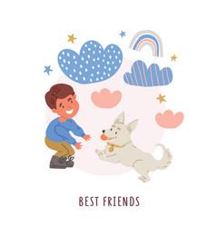 Boy with corgi puppy dog owner vector