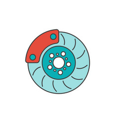 brake disc flat line icon vector image