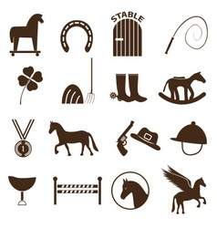 Brown simple horse theme icons set eps10 vector