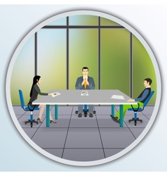 Business people sitting at the negotiating table vector image