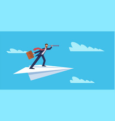 business vision businessman flying on paper plane vector image