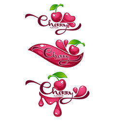 Cherry flavour collection of shine and glossy vector
