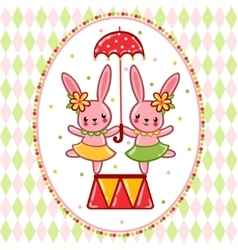 Circus rabbits on a pedestal vector