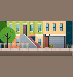 city building houses facade view summer street vector image