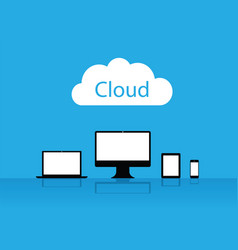 cloud enabled equipment internet business icons vector image