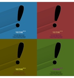 Color set the exclamation point flat modern web vector
