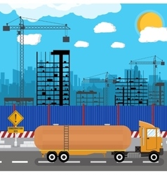 Construction site with buildings and cranes vector