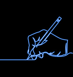 Continuous line hand drawing a line neon concept vector