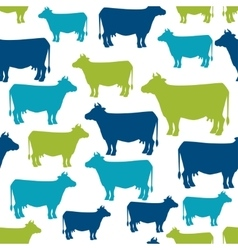 Cow silhouette seamless pattern background for vector