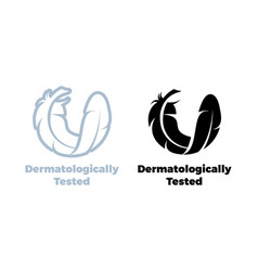 Dermatologically tested feather icon vector