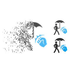 Disintegrating pixel halftone crime coverage icon vector