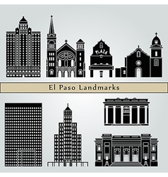 El Paso landmarks and monuments vector image