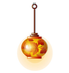 electric lamp with glass lampshade with ornament vector image