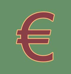 Euro sign cordovan icon and mellow vector