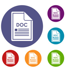 File doc icons set vector