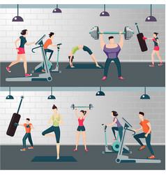 Fitness room with people on a work out gym vector