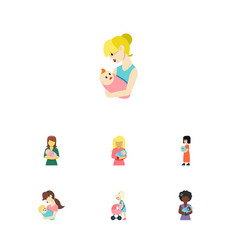 Flat icon parent set of kid mam mother and other vector