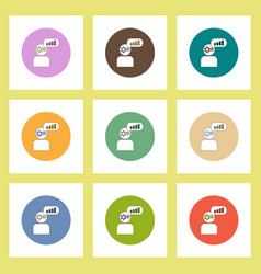 Flat icons set column chart and man silhouette vector