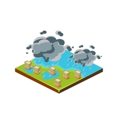 Flood in City Natural Disaster Icon vector