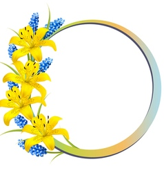 Flower background with yellow lilies and lavender vector
