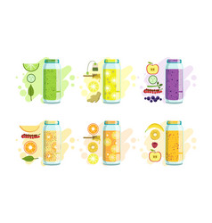 fruit berries and vegetables smoothies set detox vector image
