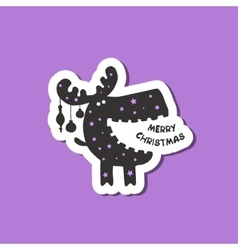 Funny moose wishes Merry Christmas vector