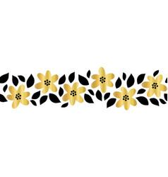 Gold foil flower garland seamless border vector