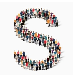 group people shape letter S vector image