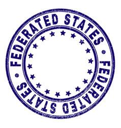 Grunge textured federated states round stamp seal vector