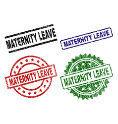 grunge textured maternity leave seal stamps vector image