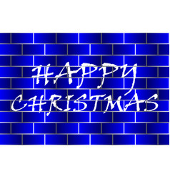 happy christmas - white and blue vector image