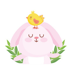 happy easter cute rabbit with chicken in head vector image