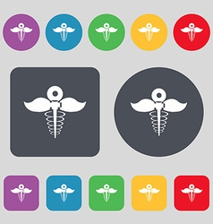 Health care icon sign A set of 12 colored buttons vector