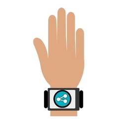 human hand with square watch and media icon vector image