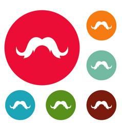 human mustache icons circle set vector image