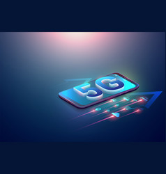 isometric 5g symbol and iot on smartphone and 5g vector image
