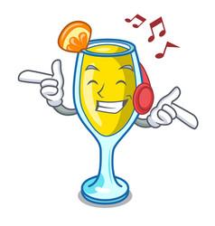 Listening music mimosa mascot cartoon style vector