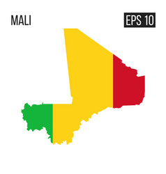 mali map border with flag eps10 vector image