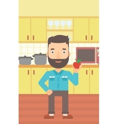 Man holding apple vector