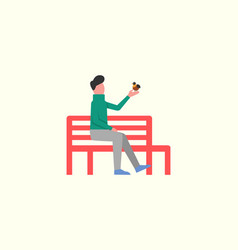 Man sitting on wooden bench playing with birdie vector