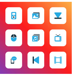 Media icons colored set with video backward vector