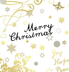 Merry Christmas card with gold glittering design vector