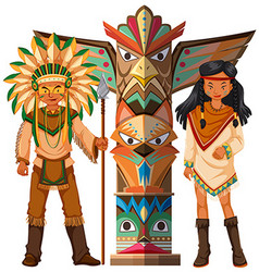 Native american indians and totem pole vector