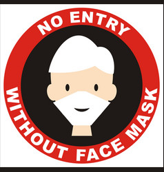 No entry without face mask red circle vector